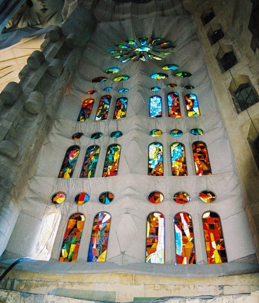 Glas in lood,Sagrada Familia, Barcelona, Catalonië, Spanje (2003)