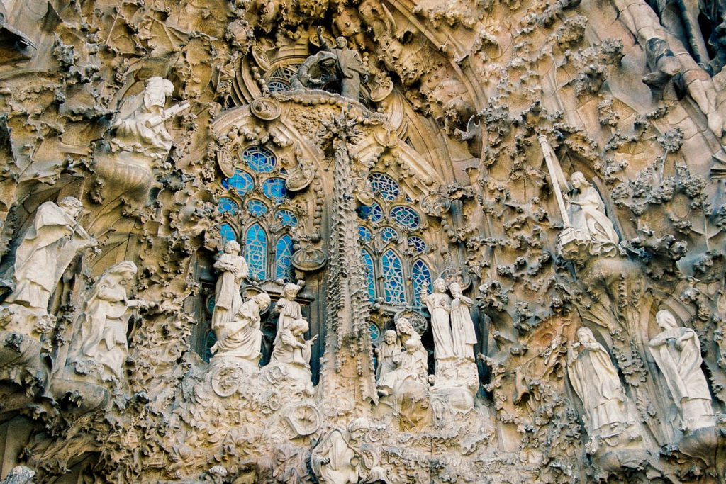 Geboortefaçade,Sagrada Familia, Barcelona, Catalonië, Spanje (2003)