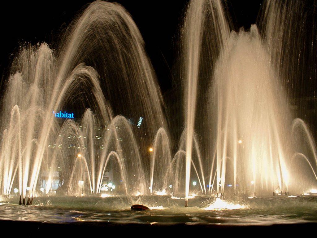 Fontein,Plaça Cataluña, Barcelona, Catalonië, Spanje (2003)