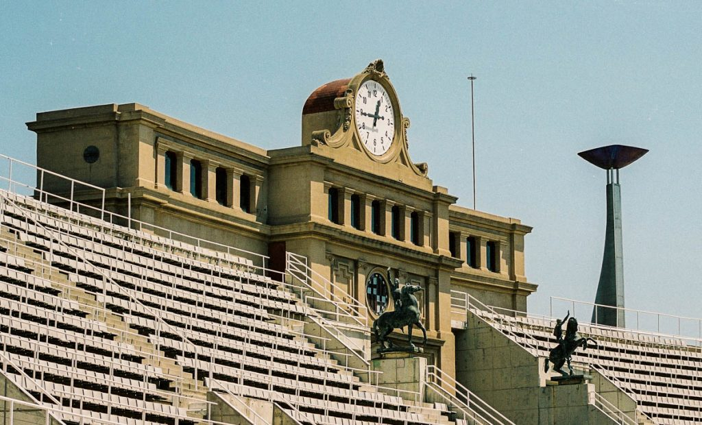 Olympische klok,Olympic Stadium, Barcelona, Catalonië, Spanje (2003)