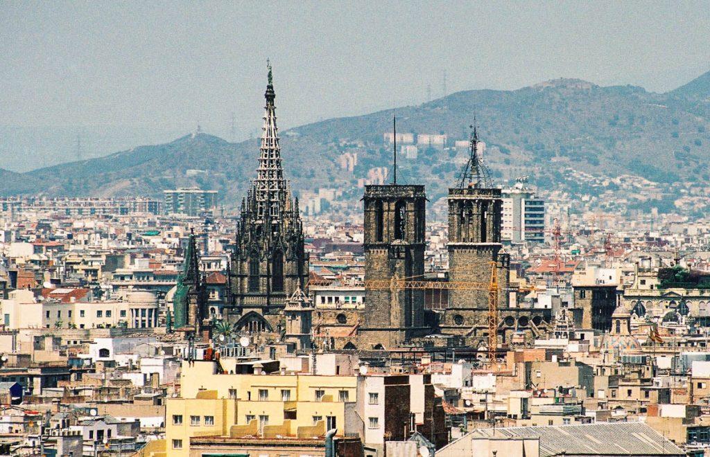 Catedral de la Santa Cruz y Santa Eulalia,Parc de Monjuïc, Barcelona, Catalonië, Spanje (2003)