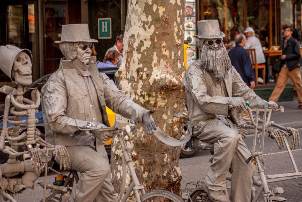Levende Standbeelden,Las Ramblas, Barcelona, Catalonië, Spanje (2005)