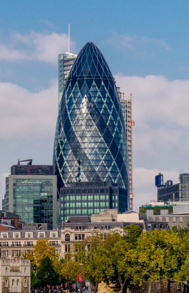 Gherkin Building,Tower Bridge, Londen, Engeland, Verenigd Koninkrijk (2010)