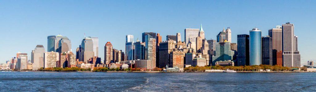 Manhattan skyline,Miss Liberty Ferry, New York, New York, Verenigde Staten (2010)
