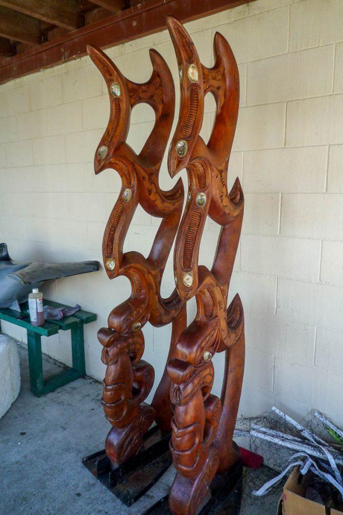 Waka Decoraties,Maketu Marae, Kawhia, Waikato, Nieuw Zeeland (2011)