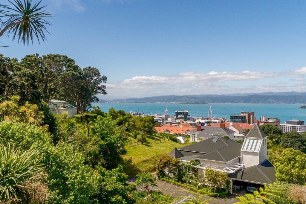 Uitzicht op Wellington & de baai,Botanic Gardens, Wellington, Wellington, Nieuw Zeeland (2011)