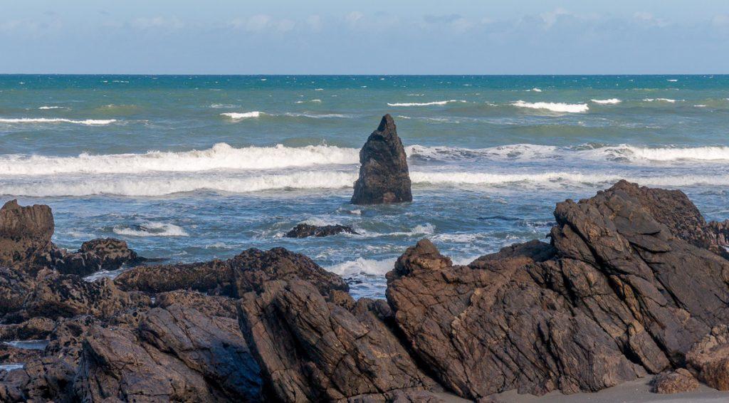 Uitstekende rotsen,Woodpecker Bay, West Coast, Nieuw Zeeland (2011)