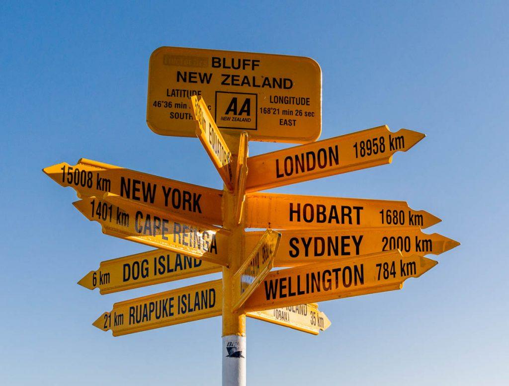 Beroemd bord,Stirling Point, Bluff, Southland, Nieuw Zeeland (2011)