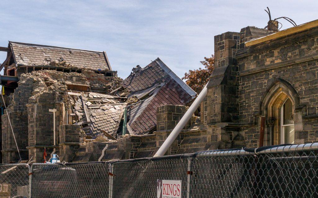 De schade na de aardbeving is nog overal zichtbaar,Christchurch, Canterbury, Nieuw Zeeland (2011)