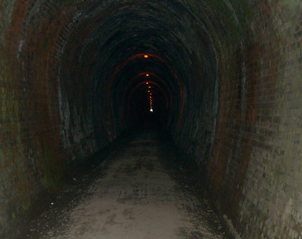 Deze tunnel is ongeveer een kilometer lang,Karangahake Gorge, Karangahake, Waikato, Nieuw Zeeland (2011)
