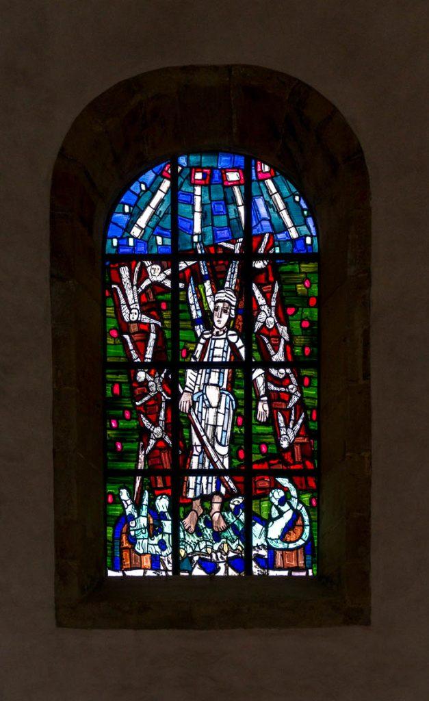 Glas in lood,Michaeliskirche, Hildesheim, Nedersaksen, Duitsland (2013)