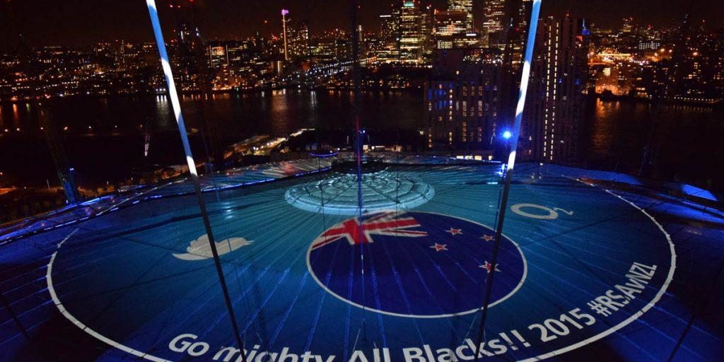 Foto van mijn tweet op het dak van de O2 Arena